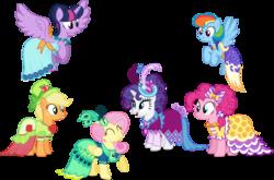 Size: 6064x4000 | Tagged: safe, artist:ambassad0r, applejack, fluttershy, pinkie pie, rainbow dash, rarity, twilight sparkle, alicorn, earth pony, pegasus, pony, unicorn, make new friends but keep discord, absurd resolution, clothes, dress, female, gala dress, grand galloping gala, mane six, mare, simple background, transparent background, twilight sparkle (alicorn), vector