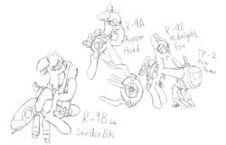 Size: 2055x1313 | Tagged: safe, artist:fameng, original species, plane pony, pony, monochrome, plane, r-9a arrowhead, r-9bbk striderbk, r-9e midnight eye, r-type, r-type tactics, tp-2 pow armor