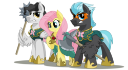 Size: 2000x1100   Tagged: safe, artist:itstaylor-made, fluttershy, mercury, starry eyes (character), thunderclap, ladybug, pegasus, pony, comic:twilight's reign, armor, axe, battle axe, female, guard, mace, male, mare, morning star, simple background, stallion, transparent background, weapon, wing hands, wing hold