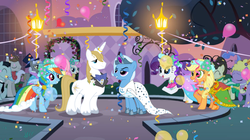 Size: 900x505   Tagged: safe, artist:3d4d, applejack, bruce mane, caesar, fine line, fluttershy, lyrica lilac, maxie, north star, prince blueblood, rainbow dash, rarity, royal ribbon, star gazer, trixie, twinkleshine, pony, unicorn, a canterlot wedding, bluetrix, female, horn ring, male, mare, shipping, straight