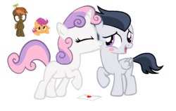 Size: 1257x798 | Tagged: artist:lunaticdawn, button mash, female, implied rumbelle, implied sweetiemash, kissing, male, rumbelle, rumble, safe, scootaloo, shipping, ship sinking, simple background, straight, sweetie belle, transparent background, vector