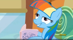 Size: 1666x930   Tagged: safe, screencap, rainbow dash, the lost treasure of griffonstone, alternate hairstyle, book, derp, female, grin, mane swap, manebow sparkle, smiling, solo