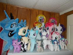 Size: 4608x3456   Tagged: safe, dj pon-3, fluttershy, octavia melody, pinkie pie, princess luna, rainbow dash, rarity, sweetie belle, trixie, twilight sparkle, vinyl scratch, oc, oc:milky way, pony, build-a-bear, female, irl, mare, photo, plushie, toy