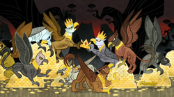 Size: 1914x1069   Tagged: safe, screencap, griffon, the lost treasure of griffonstone, angry, bits, claws, coin, crown, fight, flashback, folded wings, gold, greed, greedy, griffons doing griffon things, history of griffonstone, hoard, paws, sin of greed, spread wings, talons, treasure, wings