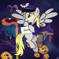 Size: 1231x1231 | Tagged: safe, artist:dsana, derpy hooves, pegasus, pony, make new friends but keep discord, alternate dimension, clothes, female, hat, mailbag, mailmare, mailpony, mare, scrunchy face, solo