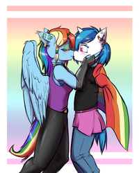 Size: 1280x1600 | Tagged: anthro, artist:krd, clothes, dj pon-3, ear piercing, female, gay pride flag, ireland, kissing, lesbian, lgbt, piercing, pride, rainbow dash, safe, shipping, skirt, vinyldash, vinyl scratch