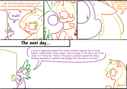 Size: 800x562 | Tagged: safe, artist:the weaver, edit, applejack, spike, comic:applejack season, bad edit, comic, comic sans, informative, simple background, the more you know, tootsie pop, white background