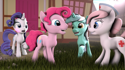 Size: 1600x900 | Tagged: safe, artist:hellhounds04, lyra heartstrings, nurse redheart, pinkie pie, rarity, 3d, blushing, bubble berry, bubble berry gets all the mares, bubbleheart, female, half r63 shipping, lyraberry, male, rariberry, raripie, rule 63, shipping, source filmmaker, straight