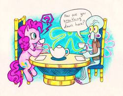 Size: 960x748 | Tagged: safe, artist:neko-setsuka, pinkie pie, crossover, duo, meme, pinkie being pinkie, pinkie physics, question mark, spongebob squarepants, squidward tentacles, tea, traditional art