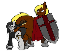 Size: 1183x1000 | Tagged: safe, artist:facade, oc, oc only, oc:facade, oc:joey butterscotch, armor, bhm, cape, clothes, collar, fat, impossibly large belly, shackles, shield, size difference