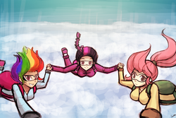 Size: 1024x683 | Tagged: safe, artist:lumineko, fluttershy, rainbow dash, twilight sparkle, human, air ponyville, goggles, humanized, looking at you, parachute, pov, skydiving, smiling
