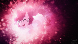 Size: 1920x1080 | Tagged: safe, artist:jeremis, artist:spier17, artist:tzolkine, edit, pinkie pie, earth pony, pony, balloon, collaboration, cute, diapinkes, female, glowing, happy, pink, smiling, solo, vector, wallpaper, wallpaper edit