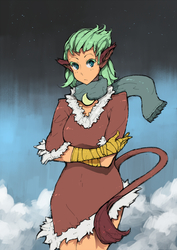 Size: 800x1131 | Tagged: safe, artist:ponythehorsey, greta, human, the lost treasure of griffonstone, clothes, colored pupils, cute, eared humanization, female, gretadorable, humanized, scarf, solo, tailed humanization