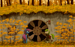 Size: 1557x985 | Tagged: safe, artist:eriada, oc, oc only, earth pony, pony, autumn, autumn leaves, clothes, duo, fan, female, forest, mare, saddle bag
