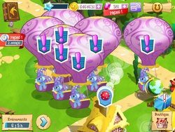 Size: 1024x768 | Tagged: safe, trixie, pony, unicorn, exclamation point, female, french, gameloft, gameloft clones, glitch, hot air balloon, leaning, mare, multeity, screenshots, trixie army