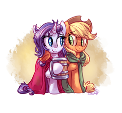 Size: 1400x1300 | Tagged: safe, artist:whitediamonds, applejack, rarity, earth pony, pony, unicorn, cider, cloak, clothes, dirt, dirty, female, hat, lesbian, looking at each other, mare, messy mane, mug, raised hoof, rarijack, rarijack daily, shipping, smiling, underhoof