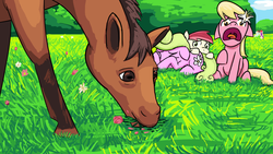 Size: 1280x720 | Tagged: safe, artist:unsavorydom, daisy, flower wishes, lily, lily valley, roseluck, horse, eating, eyes closed, floppy ears, flower, flower in hair, flower trio, frown, grazing, horse-pony interaction, horses doing horse things, mlpgdraws, open mouth, prone, raised hoof, scared, screaming, sitting, the horror, wide eyes