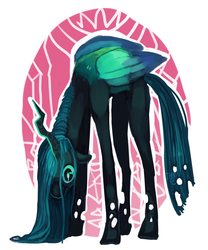 Size: 1024x1229 | Tagged: adoracreepy, artist:temary03, changeling, changeling queen, creepy, cute, cutealis, female, hoers, horses doing horse things, queen chrysalis, safe, solo