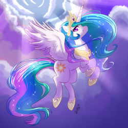 Size: 945x940 | Tagged: safe, artist:whitephox, princess celestia, alicorn, pony, cloud, crepuscular rays, crown, female, flying, hoof shoes, jewelry, mare, profile, regalia, sky, solo