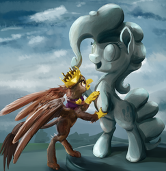 Size: 1165x1200 | Tagged: safe, artist:scootiebloom, king grover, pinkie pie, griffon, the lost treasure of griffonstone, alternate universe, female, groverpie, male, pinkiestatue, role reversal, shipping, solo, statue, straight