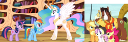 Size: 928x304 | Tagged: safe, edit, edited screencap, screencap, apple bloom, applejack, princess celestia, rainbow dash, sweetie belle, trouble shoes, twilight sparkle, alicorn, earth pony, pegasus, pony, unicorn, appleoosa's most wanted, lesson zero, blaze (coat marking), cropped, ethereal mane, female, filly, foal, male, mare, size comparison, spread wings, stallion, unicorn twilight, wings