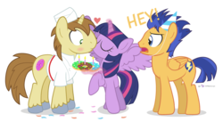 Size: 1060x580 | Tagged: safe, artist:dm29, donut joe, flash sentry, twilight sparkle, alicorn, pony, birthday, blushing, donut, female, hat, heart, kissing, male, mare, meme, party hat, shipping, simple background, straight, transparent background, trio, twijoe, twilight sparkle (alicorn), vincent tong, voice actor joke, waifu thief