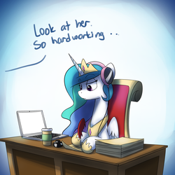Size: 1200x1200 | Tagged: safe, artist:anticular, princess celestia, alicorn, pony, ask sunshine and moonbeams, computer, desk, female, frown, headphones, hoof hold, inkwell, laptop computer, mare, paper, quill, solo, writing