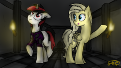 Size: 1280x720 | Tagged: safe, artist:setharu, oc, oc only, oc:blackjack, oc:psychoshy, pegasus, pony, unicorn, fallout equestria, fallout equestria: project horizons, armor, clothes, fallout, fanfic, fanfic art, female, hooves, horn, mare, security armor, solo, vault security armor, vault suit, wings
