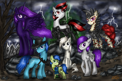 Size: 1873x1250 | Tagged: safe, artist:setharu, oc, oc only, oc:blackjack, oc:boo, oc:lacunae, oc:morning glory (project horizons), oc:p-21, oc:rampage, oc:scotch tape, alicorn, earth pony, pegasus, pony, unicorn, fallout equestria, fallout equestria: project horizons, alicorn oc, artificial alicorn, barbed wire, clothes, cloud, cloudy, cowboy hat, cutie mark, dashite, dead tree, fallout, fanfic, fanfic art, female, hat, hooves, horn, level 2 (project horizons), lightning, male, mare, pipbuck, purple alicorn (fo:e), rock, sitting, spread wings, stallion, standing, tree, vault suit, wings