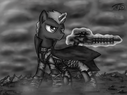 Size: 1730x1297 | Tagged: safe, artist:setharu, oc, oc only, oc:set, pony, unicorn, fallout equestria, angry, black and white, clothes, cloud, dust, fallout, fanfic, gauss rifle, glowing horn, grayscale, gun, magic, male, signature, solo, stallion, standing, telekinesis, weapon