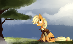 Size: 2000x1200 | Tagged: safe, artist:amagna, applejack, braid, cape, clothes, hatless, missing accessory, potion, sitting, solo, vest