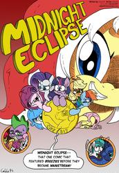 Size: 1250x1815 | Tagged: safe, artist:labba94, apple bloom, applejack, fluttershy, princess celestia, princess luna, rainbow dash, rarity, scootaloo, spike, sweetie belle, twilight sparkle, oc, oc:midnight eclipse, breezie, pony, coin, comic, comic cover, cutie mark crusaders, macro, micro, midnight eclipse, size difference
