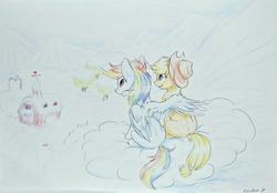 Size: 3673x2554   Tagged: safe, artist:vincher b, applejack, rainbow dash, earth pony, ice pony, pegasus, pony, appledash, barn, cloud, cloudy, cowboy hat, cute, drawing, female, hat, hooves, hug, lesbian, mare, on a cloud, pencil drawing, shipping, sitting, sitting on cloud, sweet apple acres, traditional art, tree, wing hands, winghug, wings, winter