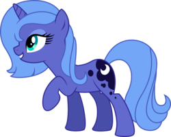 Size: 2966x2375 | Tagged: artist:missgoldendragon, bedroom eyes, filly, grin, pony, princess luna, race swap, raised hoof, s1 luna, safe, simple background, smiling, solo, transparent background, unicorn, vector, woona