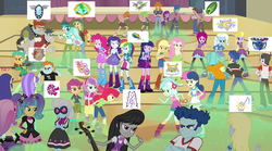 Size: 1280x714 | Tagged: safe, artist:cg1995, apple bloom, applejack, aqua blossom, blueberry cake, blueberry pie, bon bon, brawly beats, captain planet, cherry crash, curly winds, derpy hooves, fido, flash sentry, fluttershy, fuchsia blush, lavender lace, lyra heartstrings, microchips, mystery mint, octavia melody, paisley, photo finish, pinkie pie, pixel pizazz, rainbow dash, rarity, raspberry fluff, ringo, rover, sandalwood, scootaloo, scribble dee, snails, snips, spot, sweetie belle, sweetie drops, thunderbass, trixie, twilight sparkle, valhallen, violet blurr, wiz kid, equestria girls, rainbow rocks, argument, battle of the bands, cutie mark crusaders, diamond dudes, dj snazzy snails, fashionistas, female, flash drive (band), gymnasium, image macro, mc snips, meme, negative energy, rockers, screenshots, techies, the planeteers, the rainbooms, the snapshots, thunderstruck (band), trixie and the illusions
