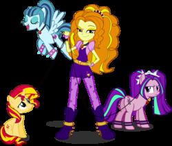 Size: 5848x4973 | Tagged: safe, artist:mit-boy, adagio dazzle, aria blaze, sonata dusk, sunset shimmer, pony, unicorn, equestria girls, a-domme-gio, absurd resolution, adaria, ariasub, collar, equestria girls ponified, female, femsub, leash, lesbian, pet, ponified, shipping, sonagio, sonatasub, submissive, subset, sunsagio