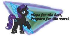Size: 600x300   Tagged: safe, rarity, changeling, changelingified, color, commission, elusive, quote, rule 63, signature, solo