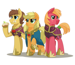 Size: 1626x1413 | Tagged: safe, artist:itstaylor-made, applejack, big macintosh, caramel, earth pony, pony, comic:twilight's reign, alternate hairstyle, armor, cape, caramel is awesome, clothes, eating, element of honesty, female, guard, male, mare, raised eyebrow, raised hoof, short mane, simple background, stallion, transparent background, trio