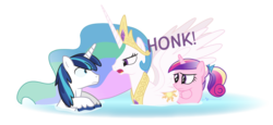 Size: 1200x550 | Tagged: safe, artist:dm29, princess cadance, princess celestia, shining armor, alicorn, duck pony, pony, unicorn, auntlestia, behaving like a bird, dialogue, eye contact, female, frown, glare, gooselestia, hiding, honk, looking at each other, male, mare, momlestia, open mouth, overprotective, simple background, spread wings, stallion, swanlestia, swimming, teen princess cadance, transparent background, trio, trollestia, water, wavy mouth, wide eyes, wings