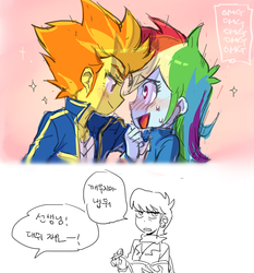 Size: 700x750 | Tagged: dead source, safe, artist:baekgup, ms. harshwhinny, rainbow dash, spitfire, equestria girls, blushing, female, it was all a dream, korean, lesbian, shipping, spitdash, translated in the comments