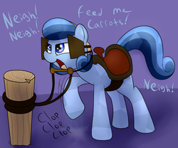 Size: 1200x1000 | Tagged: safe, artist:dattebayo681, oc, oc only, oc:heart song, crystal pony, pony, bit, blinders, cute, dialogue, female, hitching post, horse noises, horses doing horse things, lidded eyes, mare, neigh, open mouth, raised hoof, reins, saddle, smiling, solo, stomping