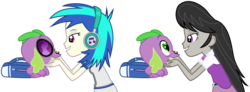 Size: 6081x2231 | Tagged: safe, hundreds of users filter this tag, dj pon-3, octavia melody, spike, vinyl scratch, dog, equestria girls, absurd resolution, accessory swap, backpack, bedroom eyes, eye contact, female, grin, headphones, heart eyes, love, lucky bastard, male, petting, shipping, simple background, smiling, spike the dog, spikelove, spiketavia, straight, transparent background, vector, vinylspike, wingding eyes