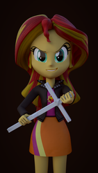 Size: 1080x1920 | Tagged: 3d, 3d model, artist:3d thread, artist:creatorofpony, blender, christianity, christian sunset shimmer, clothes, cross, crucifix, equestria girls, jacket, /mlp/, safe, shirt, skirt, solo, sunset shimmer