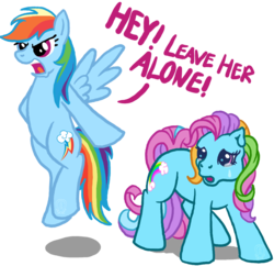 Size: 1044x1010 | Tagged: safe, artist:anscathmarcach, rainbow dash, rainbow dash (g3), earth pony, pegasus, pony, g3, g4, crying, defending, dialogue, duo, duo female, female, floating, flying, loyalty, mare, ponies defending previous generation, self ponidox, simple background, spread wings, transparent background, white background, wings