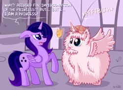 Size: 1742x1280 | Tagged: safe, artist:dsp2003, oc, oc only, oc:dark spark, oc:fluffle puff, alicorn, pony, alicorn oc, alicornified, comic, detective, female, flufflecorn, magic, race swap, single panel