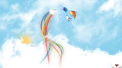 Size: 1920x1080 | Tagged: safe, artist:mentalsuicide1, artist:sairoch, rainbow dash, pegasus, pony, female, long tail, mare, pointing, rainbow trail, sky, solo, sun, vector, wallpaper