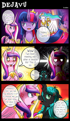 Size: 1500x2562 | Tagged: safe, artist:vavacung, princess cadance, queen chrysalis, twilight sparkle, oc, oc:paper mache, alicorn, pony, comic:to love alicorn, comic, cute, cutedance, female, mare, sisters-in-law, twilight sparkle (alicorn)