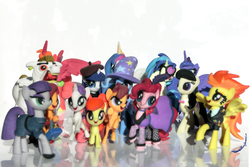 Size: 4500x3000 | Tagged: safe, artist:deathpwny, apple bloom, big macintosh, bulk biceps, dj pon-3, maud pie, octavia melody, pinkie pie, princess celestia, princess luna, rarity, scootaloo, spitfire, sweetie belle, trixie, vinyl scratch, alicorn, pony, unicorn, 3d print, alicornified, beatnik rarity, beret, clothes, cutie mark crusaders, female, hat, mare, princess big mac, race swap, saloon pinkie, scooter