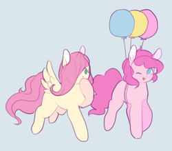 Size: 1156x1014 | Tagged: safe, artist:balaraika, fluttershy, pinkie pie, balloon, cute, diapinkes, flying, shyabetes, then watch her balloons lift her up to the sky, wink