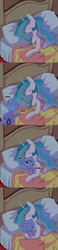Size: 850x3636   Tagged: safe, artist:ende26, princess celestia, princess luna, alicorn, pony, bed, big sislestia, cuddling, cute, daaaaaaaaaaaw, ende will be the end of us, eyes closed, female, filly, heartwarming, hnnng, lunabetes, pillow, royal sisters, sisters, sleeping, smiling, sneaking, snuggling, sweet dreams fuel, weapons-grade cute, woona, woona knight